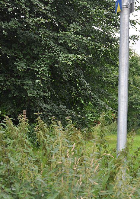 Wegweiser in der Landschaft mit km-Angaben